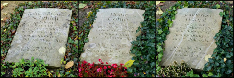 Několik hrobů z poslední doby. Odkazy jsou: Fil 3,20; Mat 28,20; Jer 31,3.